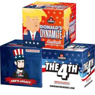 Donald's Dynamite - Abe's Legacy - The 4TH |3 Assorted 500 Gram Aerials By Sun Wing Fireworks