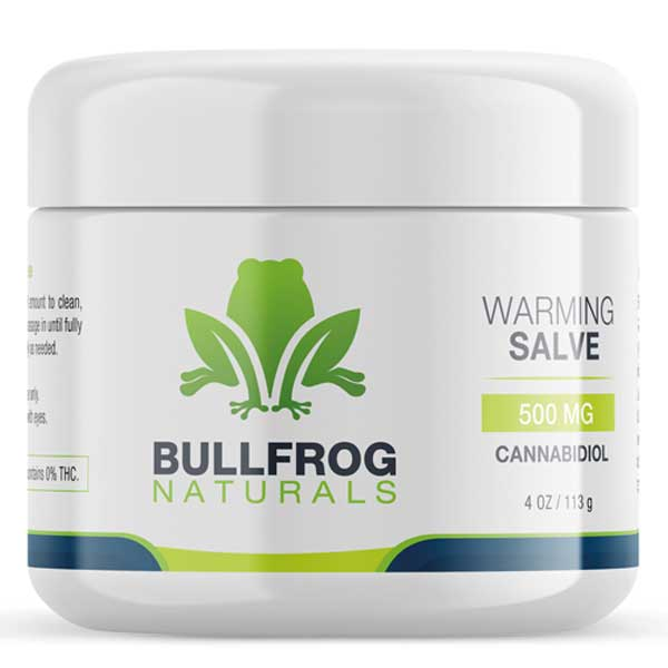 Buy Bullfrog CBD Warming Salve On Line - 500 mg of CBD.  Relax your body with this all-purpose powerful CDB healing salve that leaves your skin feeling smooth and restored. Infused with Organically Grown USA Hemp. Our proprietary True Full Spectrum CBD oil and rich w